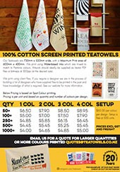Custom Printed Tea towel Pricing